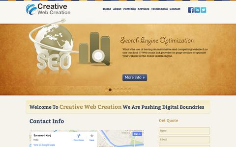 Screenshot of Contact Page creativewebcreation.com - Web Designing And Graphic Designing Services Group Of Team Creative Web Creation | Contact Us - captured Sept. 30, 2014