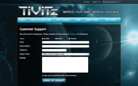 Screenshot of Support Page tivitz.com - Support - TiViTz Math Game - captured Oct. 29, 2014