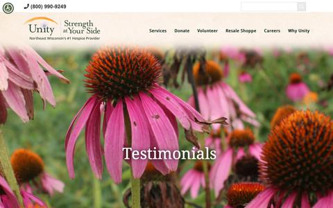 Screenshot of Testimonials Page unityhospice.org - Hospice Care Provider Testimonials in Wisconsin - Unity Hospice - captured Oct. 19, 2018