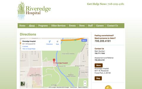 Screenshot of Maps & Directions Page riveredgehospital.com - Riveredge Hospital  » Directions - captured Oct. 29, 2014
