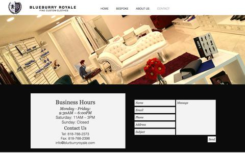 Screenshot of Contact Page blueburryroyale.com - CONTACT - captured July 3, 2017