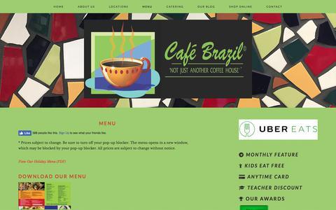 Screenshot of Menu Page cafebrazil.com - Cafe Brazil Menus - captured Sept. 26, 2018