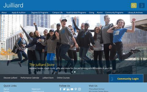 Screenshot of Home Page juilliard.edu - The Juilliard School   Dance, Drama, and Music - captured July 5, 2017