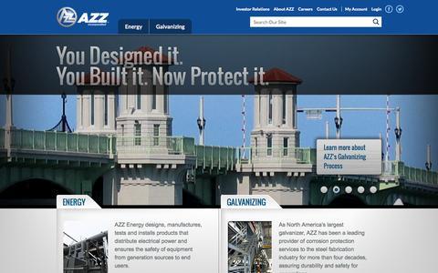 Screenshot of Home Page azz.com - AZZ - captured Sept. 19, 2014
