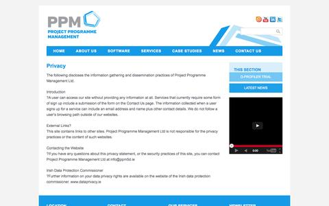 Screenshot of Privacy Page ppm5d.ie - Privacy | Project Programme Management - captured Oct. 3, 2014
