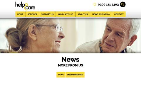 Screenshot of Press Page helpandcare.org.uk - News   Help & Care · Help & Care - captured July 18, 2018