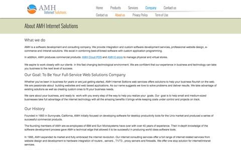 Screenshot of About Page amh.com - About AMH Internet Solutions - captured Feb. 6, 2016