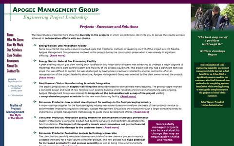 Screenshot of Case Studies Page apogeemg.com - Apogee Management Group - Rob A. Cimini - captured Oct. 4, 2014
