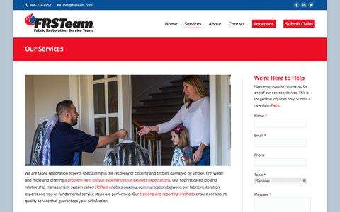 Screenshot of Services Page frsteam.com - Our Services – FRSTeam - captured Aug. 3, 2016