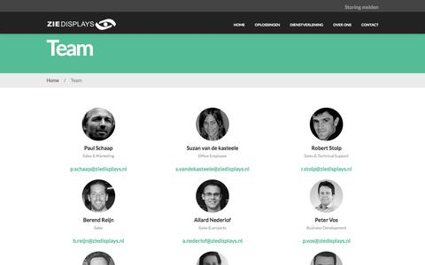 Screenshot of Team Page ziedisplays.nl -   Team - captured Jan. 10, 2016