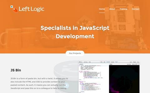 Screenshot of Home Page leftlogic.com - Left Logic - captured Sept. 19, 2014