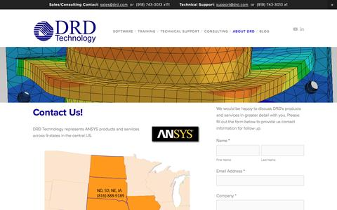 Screenshot of Contact Page drd.com - Contact — DRD Technology Corporation - captured Nov. 23, 2016