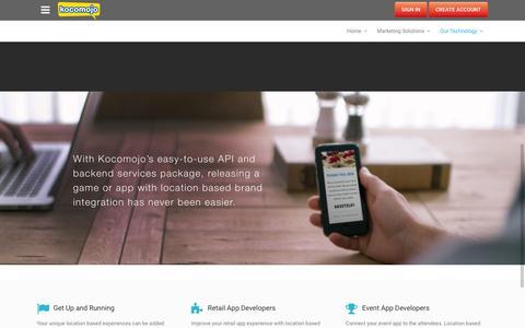 Screenshot of Developers Page kocomojo.com - Kocomojo |   Our Technology - captured Feb. 12, 2016