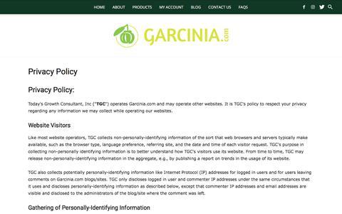 Privacy Policy - Garcinia Cambogia