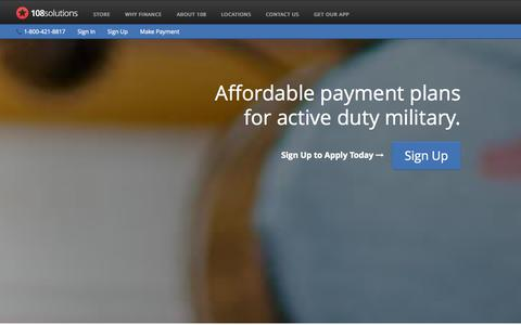 Screenshot of Home Page Signup Page shop108solutions.com - Military Financing & Loans: Computers, Laptops, Flights, Rings, and more - 108 Solutions - captured Oct. 7, 2014
