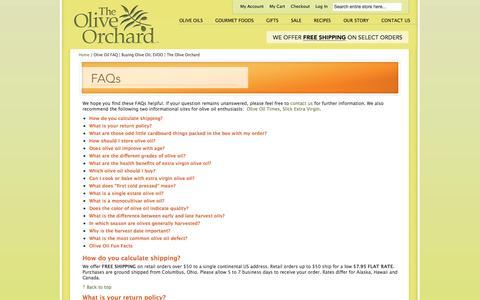 Screenshot of FAQ Page theoliveorchard.com - Olive Oil FAQ   Buying Olive Oil, EVOO   The Olive Orchard - captured Oct. 9, 2014