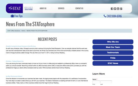 Screenshot of Press Page statofficesolutions.com - News From The STATosphere - STAT Office Solutions | First Class Office-Space and SolutionsSTAT Office Solutions | First Class Office-Space and Solutions - captured Oct. 29, 2014