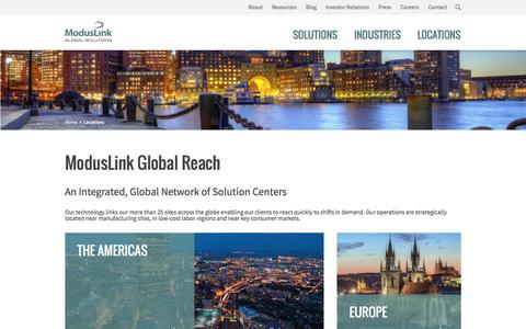 Screenshot of Locations Page moduslink.com - Locations Archive - ModusLink Global Solutions - captured Oct. 28, 2014