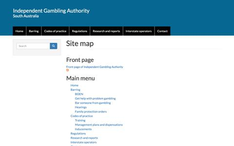 Screenshot of Site Map Page iga.sa.gov.au - Site map | Independent Gambling Authority - captured Oct. 2, 2018