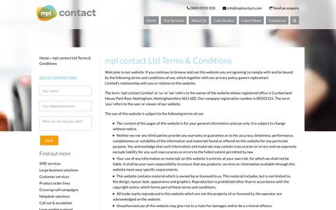 Screenshot of Terms Page mplcontact.com - mpl contact Ltd Terms & Conditions | MPL Contact - captured Sept. 30, 2014