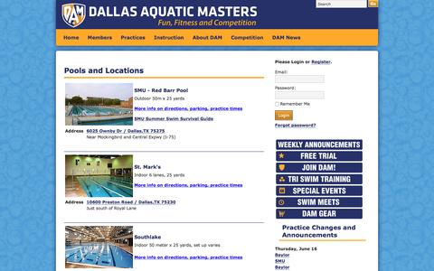 Screenshot of Locations Page damswim.com - DAM pools and locations - captured June 16, 2016