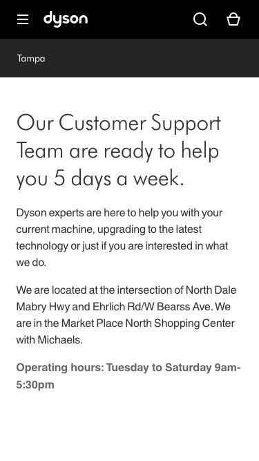Screenshot of Support Page  dyson.com - Tampa FL Service Center | Dyson