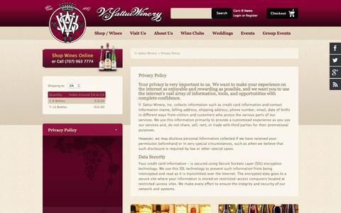 Screenshot of Privacy Page vsattui.com - V. Sattui Winery - Privacy Policy - captured Nov. 11, 2015