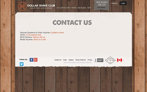 Screenshot of Contact Page dollarshaveclub.com - Razors for Men, Cheap Razor Blades Online | Dollar Shave Club - captured April 5, 2016