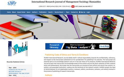 Screenshot of FAQ Page irjmsh.com - UGC Listed – Approved Journal – IRJMSH.com : Faqs - captured Oct. 25, 2018