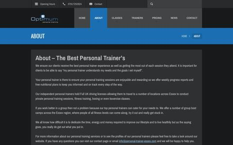 Screenshot of About Page personal-trainer-essex.com - Best Personal Trainer - About Optimum PT - captured Sept. 29, 2014