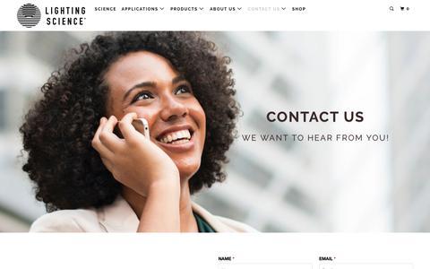 Screenshot of Contact Page lsgc.com - Contact Us - Lighting Science - captured Dec. 12, 2018