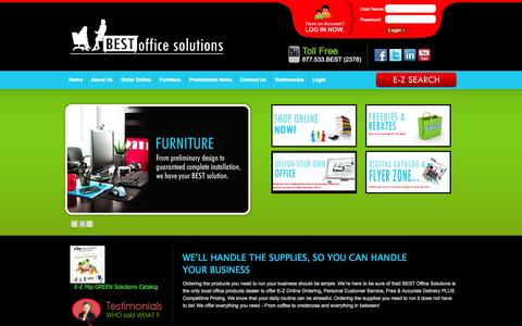 Screenshot of Home Page bestofficesolutions.com - Home - Best Office Solutions - captured Sept. 30, 2014