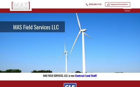 Screenshot of Home Page masfieldservices.com - MAS Field Services LLC – energy industry – field service company - captured Sept. 25, 2018