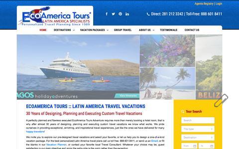 Screenshot of Home Page ecoamericatours.com - Ecoamerica Tours Latin America Travel Vacations - captured July 11, 2016