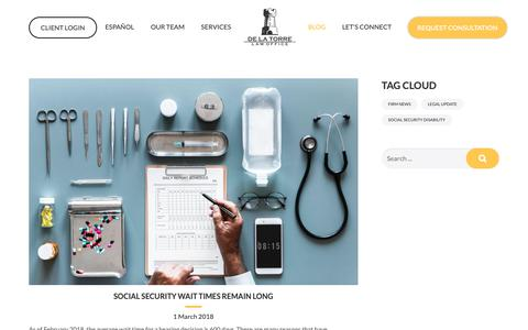 Screenshot of Blog dltlawoffice.com - Blog - The de la Torre Law - captured Oct. 18, 2018