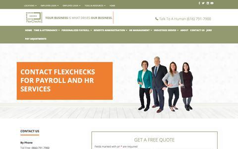 Screenshot of Contact Page flexchecks.com - Online Payroll Company in Michigan   Contact Us   FlexChecks - captured Oct. 10, 2018