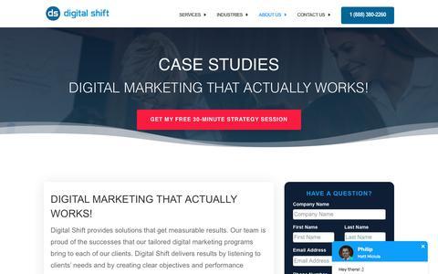 Screenshot of Case Studies Page digitalshiftmedia.com - Digital Marketing Case Studies by Digital Shift - captured Jan. 28, 2020
