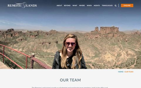 Screenshot of Team Page remotelands.com - Our Team | Luxe and Intrepid Asia | Remote Lands - captured Oct. 12, 2018