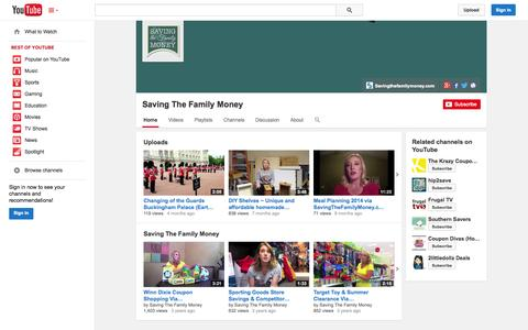 Screenshot of YouTube Page youtube.com - Saving The Family Money  - YouTube - captured Oct. 23, 2014