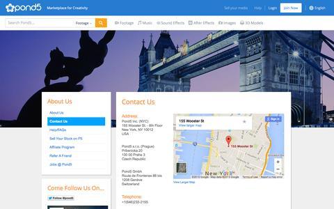 Screenshot of Contact Page pond5.com - Contact Us - captured Oct. 25, 2015