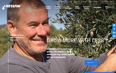 Screenshot of Home Page netafim.com - Netafim irrigation - captured Sept. 21, 2018