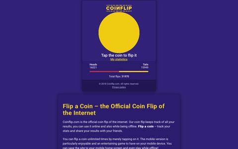 Screenshot of Home Page coinflip.com - Flip a coin now! The Official coin flip of the internet - Coinflip.com - captured Dec. 8, 2018