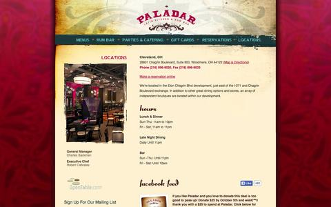 Screenshot of Locations Page paladarlatinkitchen.com - Paladar Latin Kitchen & Rum Bar / Locations / Cleveland, OH - captured Oct. 1, 2014