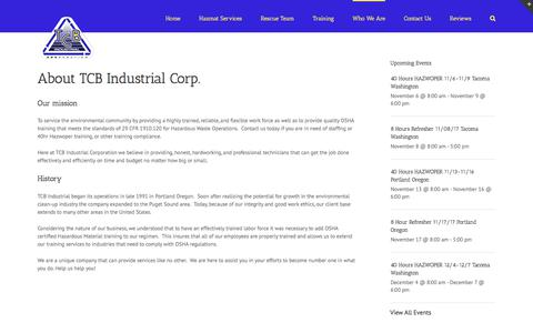 Screenshot of About Page tcbindustrial.com - Who We Are - TCB Industrial Corporation - captured Nov. 2, 2017