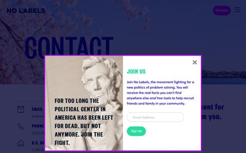 Screenshot of Contact Page nolabels.org - Contact | No Labels - captured Oct. 19, 2018