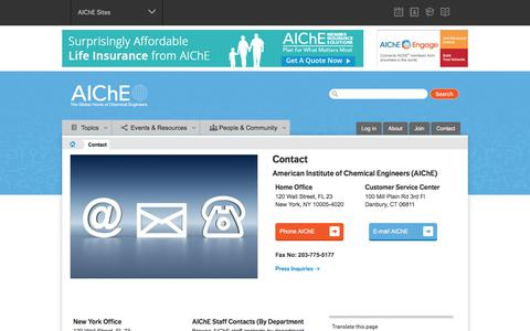 Screenshot of Contact Page aiche.org - AIChE Contact Us Information - captured Sept. 8, 2017