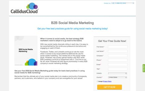 Screenshot of Landing Page calliduscloud.com - B2B Social Media Marketing - Free White Paper - captured Feb. 22, 2016