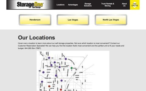 Screenshot of Locations Page gostorageone.com - Our Locations in Nevada StorageOne Self Storage - captured Nov. 4, 2014