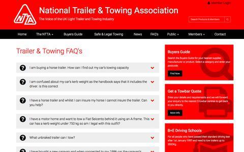 Screenshot of FAQ Page ntta.co.uk - NTTA Trailer & Towing FAQ's - captured July 5, 2017