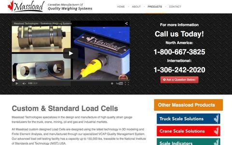 Screenshot of Products Page massload.com - Massload: Canadian Manufacturer of Custom & Standard Load Cells - captured March 10, 2016